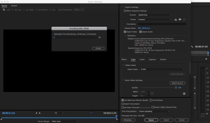 Exporting the video.